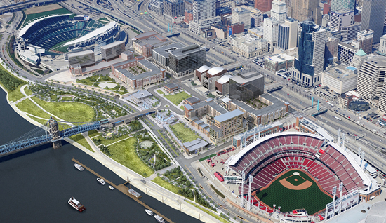 Daytime rendering of Smale Riverfront park.