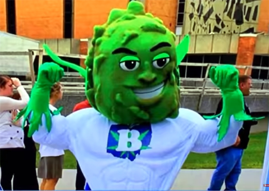 Buddy, Responsible Ohio's marijuana mascot.