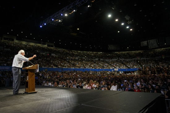 Bernie Sanders at a rally in Los Angeles. Photo courtesy of Peter Stevens.