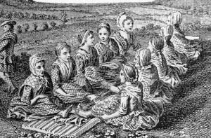 Scotswomen singing a waulking song while waulking or fulling cloth, c. 1770.
