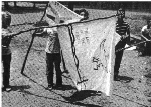 "Rattlers with banner reading ""The Last of the Eagles."" (Sherif, ""Intergroup Conflict and Cooperation"")"