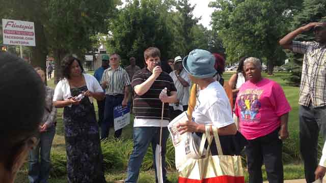 Claire McClinton Speaking after the Water March on August, 10, 2014.