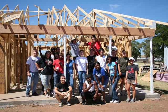 Students from Texas Tech University build a house for Habitat for Humanity in 2010.