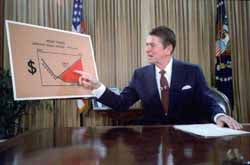 Ronald Reagan gives a televised address from the Oval Office outlining his plan for tax reductions in July 1981 (White House Photo Office).