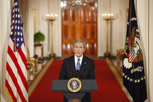 George W. Bush delivers his farewell address to the nation Thursday evening, Jan.15, 2009 (Chris Greenberg/Wikimedia).