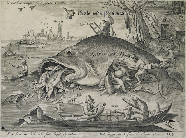 'The Big Fish Eat the Little Fish,' satire on the fall of Johan van Oldenbarnevelt, 1619.