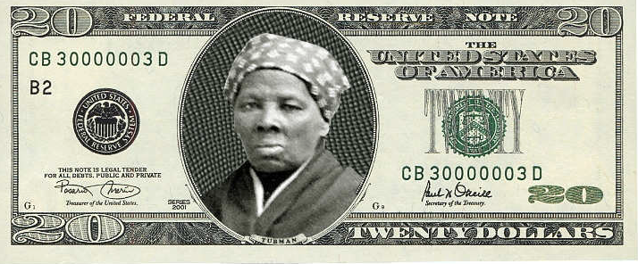 Harriet Tubman on the $20 bill (Michael Fisher).