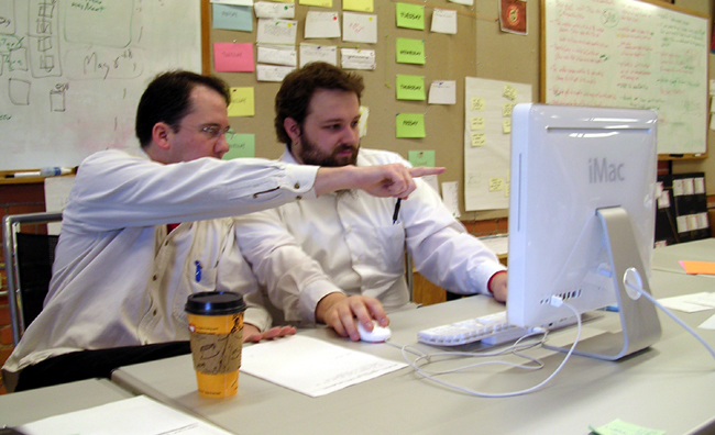 Pair programming, an agile development technique used by XP (Extreme programming).