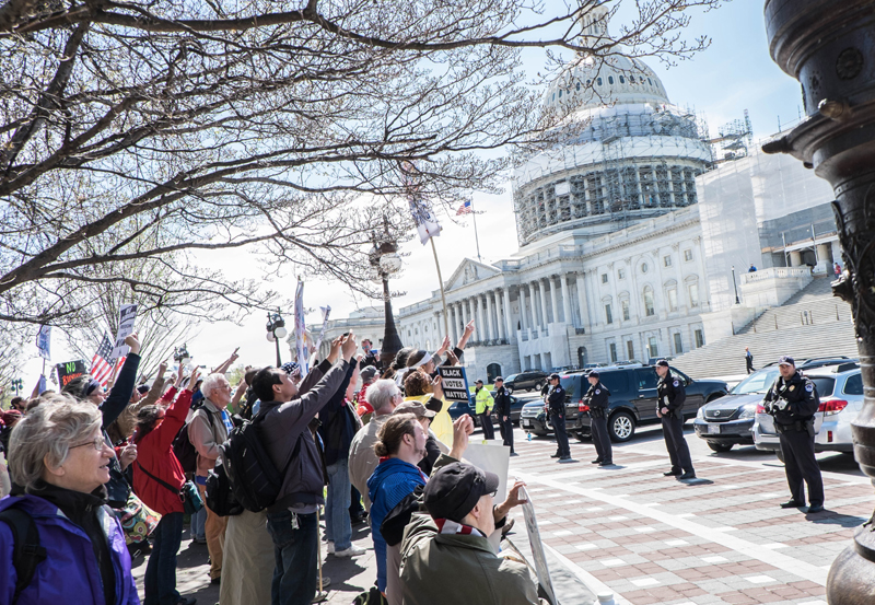Democracy Spring protesters at the United States Capitol building, April 2016. (Michele Egan/Wikimedia)