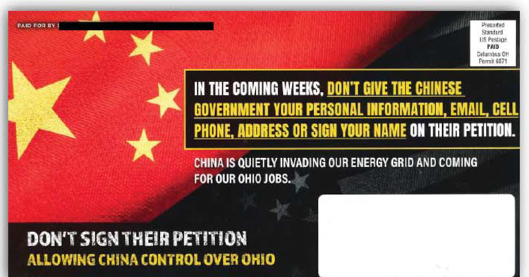 Mailer against the HB 6 repeal efforts claiming the repeal effort was a Chinese conspiracy/